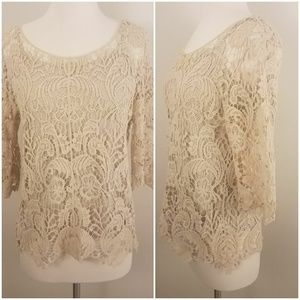 ADIVA | 3/4 Sleeved Crochet 2-Piece Blouse  [Tops]